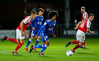 Leicester City U21s' Hamza Choudhury turns away from Fleetwood Town's Harrison Biggins<br /> <br /> Photographer Alex Dodd/CameraSport<br /> <br /> The EFL Checkatrade Trophy - Northern Group B - Fleetwood Town v Leicester City U21 - Tuesday September 11th 2018 - Highbury Stadium - Fleetwood<br />  <br /> World Copyright &copy; 2018 CameraSport. All rights reserved. 43 Linden Ave. Countesthorpe. Leicester. England. LE8 5PG - Tel: +44 (0) 116 277 4147 - admin@camerasport.com - www.camerasport.com