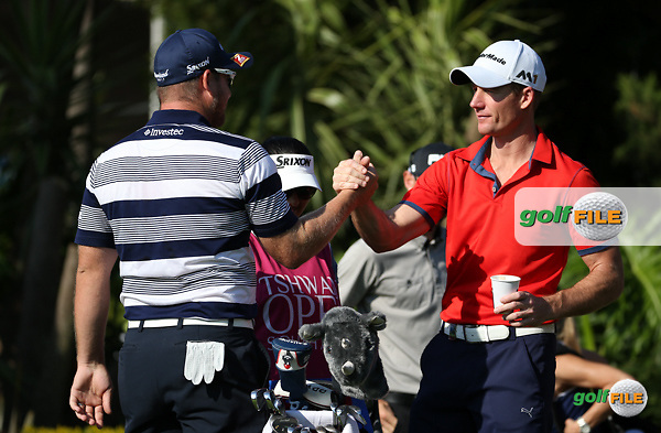 Friends. Merrick Bremner (RSA) and Garth Mulroy (RSA) begin Round One of the 2016 Tshwane Open, played at the Pretoria Country Club, Waterkloof, Pretoria, South Africa.  11/02/2016. Picture: Golffile | David Lloyd<br /> <br /> All photos usage must carry mandatory copyright credit (&copy; Golffile | David Lloyd)
