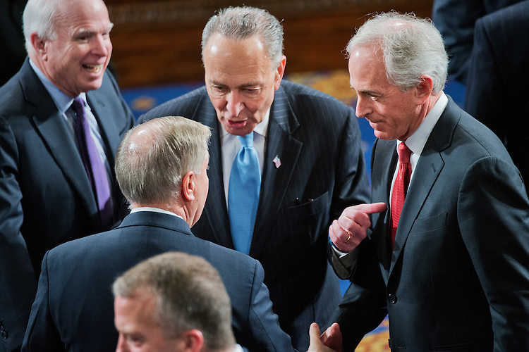 UNITED STATES - MARCH 03: From left, Sens. John McCain, R-Ariz., Charles Schumer, D-N.Y., Lindsey Graham, R-S.C., and Bob Corker, R-Tenn., are pictured in the House chamber before Israeli Prime Minister Benjamin Netanyahu's address to a joint meeting of Congress, March 3, 2015. (Photo By Tom Williams/CQ Roll Call)