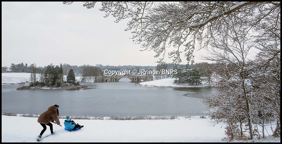 BNPS.co.uk (01202 558833)<br /> Pic: JPrince/BNPS<br /> <br /> 'Britain's best view' is covered in snow at Blenheim Palace today.