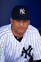 New York Yankees Mason Williams (66) in the dugout before a Spring Training game against the Detroit Tigers on March 2, 2016 at George M. Steinbrenner Field in Tampa, Florida.  New York defeated Detroit 10-9.  (Mike Janes/Four Seam Images)