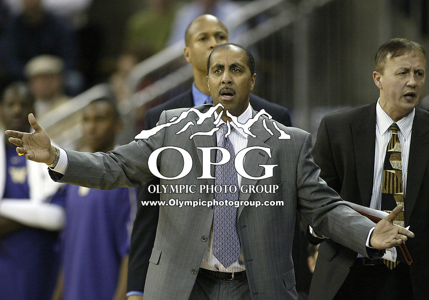 16 January 2010:  Washington Huskies head coach Lorenzo Romar screams at the official for the foul that was called against Darnell Gant. Washington won 84-69 over California at the Bank of America Arena in Seattle, WA.