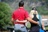 Jon Rahm (ESP) and his girlfriend Kelley Cahill depart the 16th green following round 6 of the World Golf Championships, Dell Technologies Match Play, Austin Country Club, Austin, Texas, USA. 3/26/2017.<br /> Picture: Golffile | Ken Murray<br /> <br /> <br /> All photo usage must carry mandatory copyright credit (&copy; Golffile | Ken Murray)