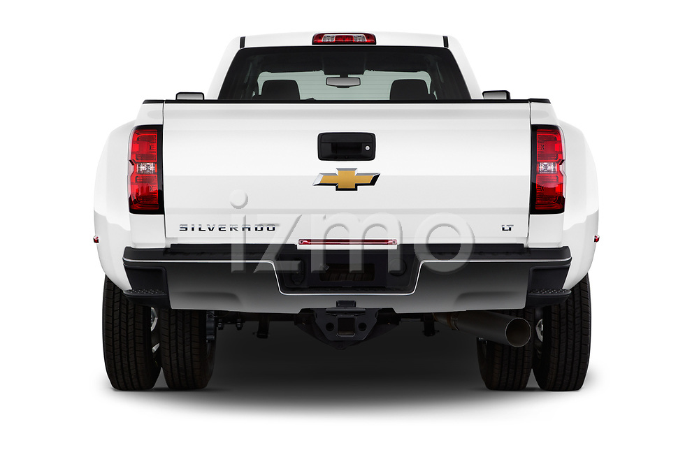 Straight rear view of 2017 Chevrolet Silverado-3500HD LT-Crew-DRW 4 Door Pick-up Rear View  stock images