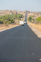 Africa, Madagascar, Ilhorombe region, Ilakaka. Paved raod to the town. One of the world's largest known alluvial sapphire deposits discovered in 1998. Paved road leading to town. Paved road leading to town.