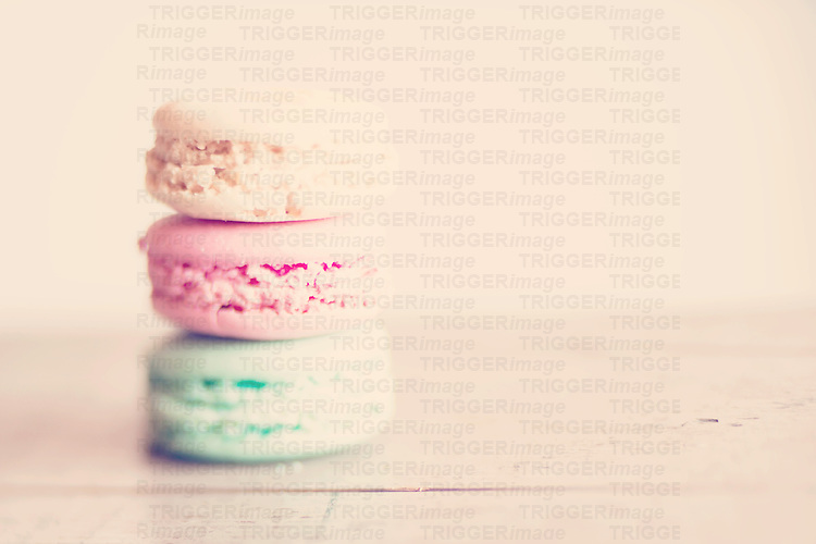 a trio of sweet french macarons