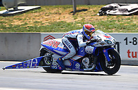 Jul. 21, 2013; Morrison, CO, USA: NHRA pro stock motorcycle rider Hector Arana Jr during the Mile High Nationals at Bandimere Speedway. Mandatory Credit: Mark J. Rebilas-