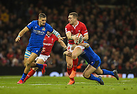 1st February 2020; Millennium Stadium, Cardiff, Glamorgan, Wales; International Rugby, Six Nations Rugby, Wales versus Italy; George North of Wales is tackled by Luca Morisi of Italy
