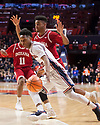 Jan 24, 2018; Champaign, IL, USA; Illinois Fighting Illini guard Trent Frazier (1) drives to the basket defended by Indiana Hoosiers forward Juwan Morgan (13) during the first half at State Farm Center. Mandatory Credit: Mike Granse-USA TODAY Sports
