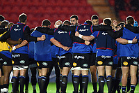 The Bath Rugby team huddle together during the pre-match warm-up. European Rugby Champions Cup match, between the Scarlets and Bath Rugby on October 20, 2017 at Parc y Scarlets in Llanelli, Wales. Photo by: Patrick Khachfe / Onside Images