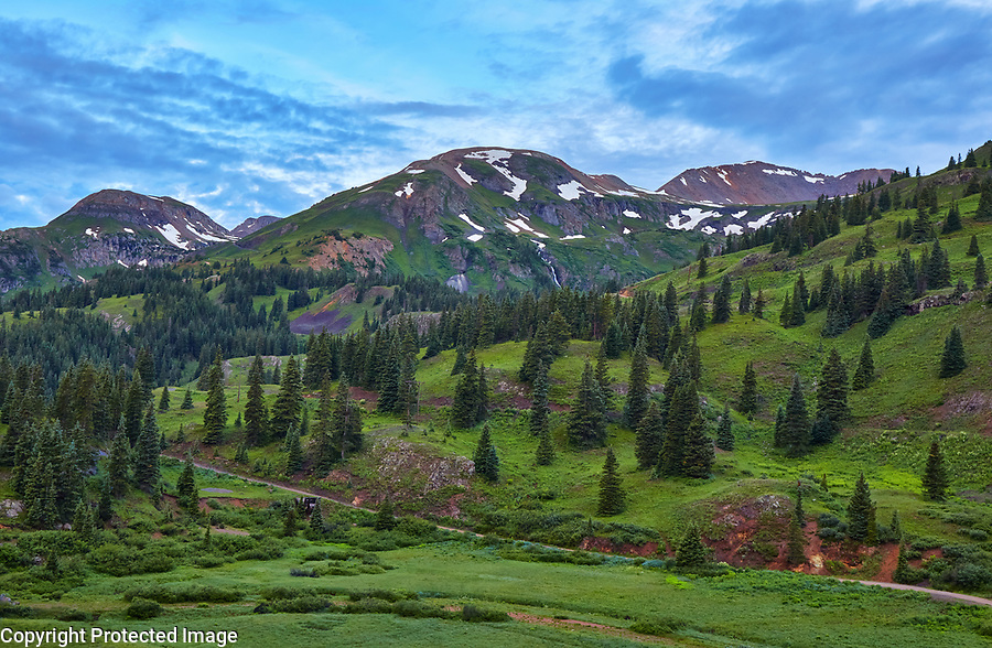 Early morning alpine scenery at Red Mountain Pass, located along the Million Dollar Highway between Ouray and Silverton, Colorado