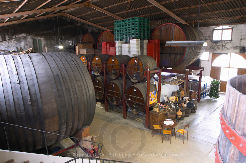 Chateau de Nouvelles. Fitou. Languedoc. Barrel cellar. The wine shop and tasting room. Wooden fermentation and storage tanks. France. Europe.