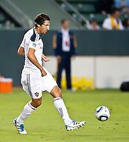 CARSON, CA – August 6, 2011: LA Galaxy defender Omar Gonzalez (4) during the match between LA Galaxy and FC Dallas at the Home Depot Center in Carson, California. Final score LA Galaxy 3, FC Dallas 1.