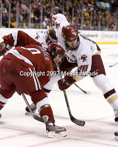 Jimmy Fraser (Harvard University - Port Huron, MI) and Brian Boyle (Boston College - Hingham, MA) faceoff. The Boston College Eagles defeated the Harvard University Crimson 3-1 in the first round of the 2007 Beanpot Tournament on Monday, February 5, 2007, at the TD Banknorth Garden in Boston, Massachusetts.  The first Beanpot Tournament was played in December 1952 with the scheduling moved to the first two Mondays of February in its sixth year.  The tournament is played between Boston College, Boston University, Harvard University and Northeastern University with the first round matchups alternating each year.