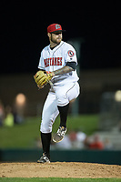 Billings Mustangs relief pitcher Lucas Benenati (57) in action against the Missoula Osprey at Dehler Park on August 21, 2017 in Billings, Montana.  The Osprey defeated the Mustangs 10-4.  (Brian Westerholt/Four Seam Images)
