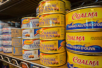 Cans of tuna of various brands in a grocery store in New York on Thursday, February 20, 2014. (© Richard B. Levine)
