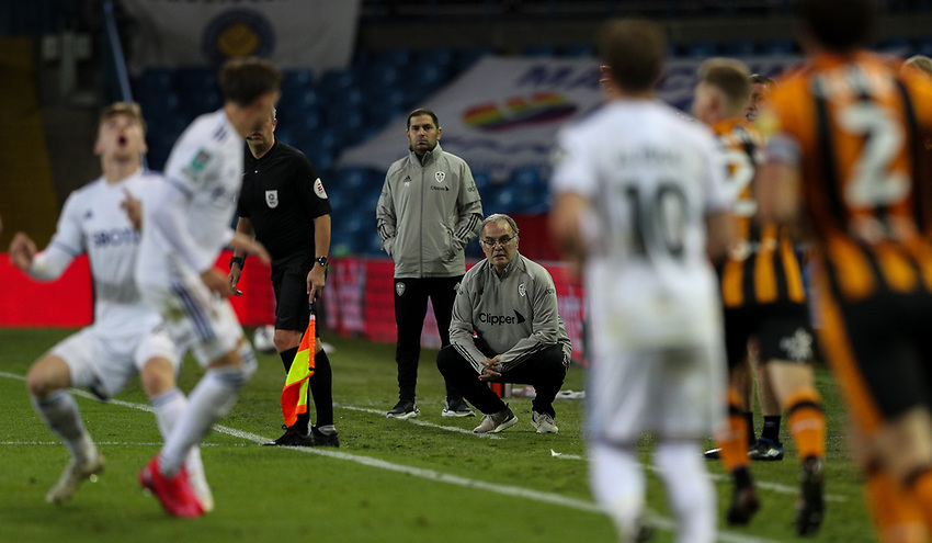 Leeds United manager Marcelo Bielsa watches on<br /> <br /> Photographer Alex Dodd/CameraSport<br /> <br /> Carabao Cup Second Round Northern Section - Leeds United v Hull City -  Wednesday 16th September 2020 - Elland Road - Leeds<br />  <br /> World Copyright © 2020 CameraSport. All rights reserved. 43 Linden Ave. Countesthorpe. Leicester. England. LE8 5PG - Tel: +44 (0) 116 277 4147 - admin@camerasport.com - www.camerasport.com