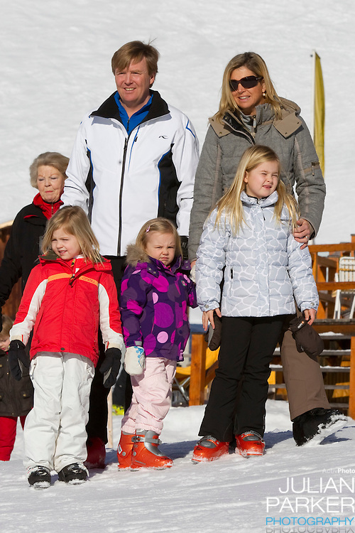 Crown Prince Willem Alexander, and Crown Princess Maxima of Holland with Daughters, Princess Alexia ( left ), Princess Catharina Amalia ( right) and Princess Ariane ( centre ) attend a Photocall with Members of The Dutch Royal Family during their Winter Ski Holiday in Lech Austria