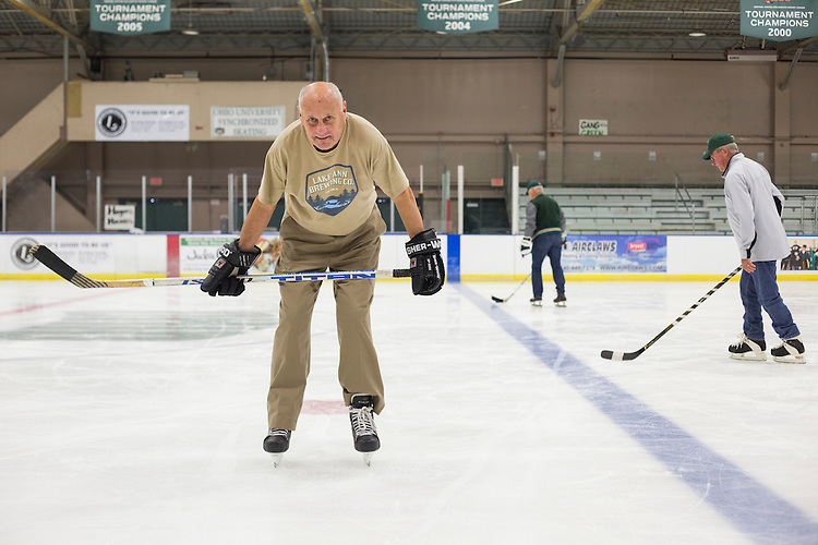 Jake Peterson skates with other 1960s hockey alumni at Bird Arena on October 1, 2016.