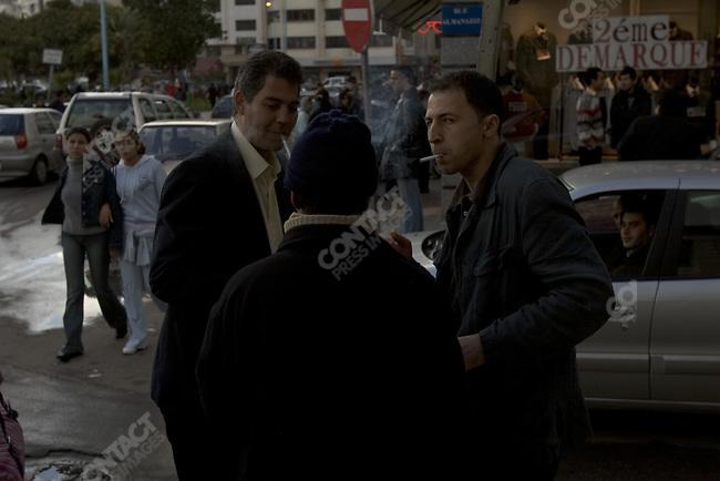 Street scene in the fashionable area of Casablanca, Morocco.