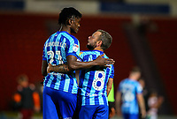 Blackpool's Jay Spearing congratulates Armand Gnanduillet after the match<br /> <br /> Photographer Alex Dodd/CameraSport<br /> <br /> The EFL Sky Bet League One - Doncaster Rovers v Blackpool - Tuesday September 17th 2019 - Keepmoat Stadium - Doncaster<br /> <br /> World Copyright © 2019 CameraSport. All rights reserved. 43 Linden Ave. Countesthorpe. Leicester. England. LE8 5PG - Tel: +44 (0) 116 277 4147 - admin@camerasport.com - www.camerasport.com