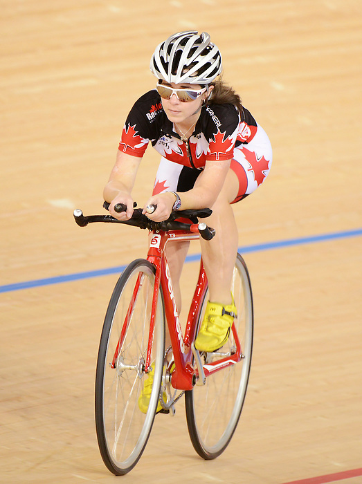 LONDON, ENGLAND – 08/24/2012:  Genevieve Ouellet during a training session at the London 2012 Paralympic Games at The Velodrome. (Photo by Matthew Murnaghan/Canadian Paralympic Committee)