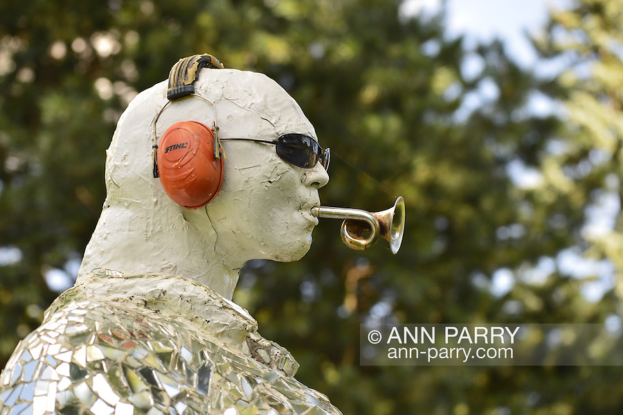Garden City, New York, U.S. - August 29, 2014 - Adelphi University campus outdoor sculpture  in summer