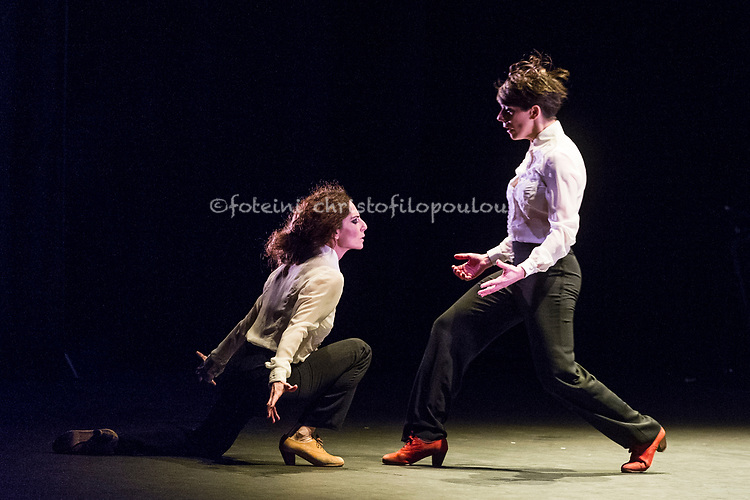 London, UK. 18.02.2018. Dramatist Pedro G. Romero and flamenco dancers Ursula López, Tamara López and Leonor Leal present Painter and Flamenco: J.R.T. as part of the Flamenco Festival London 2018 at Sadler's Wells Theatre, 18 Feb. Photo shows: Tamara López, Leonor Leal. Photo - © Foteini Christofilopoulou.