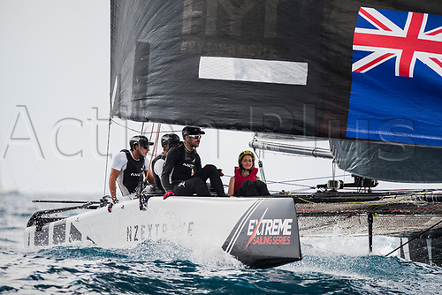 July 23rd 2017, Barcelona, Spain; Extreme Sailing Series, Act 4, Sunday Session; The skipper Chris Steel (NZL) of TEAM  NZ Extrem Sailing Team and his crew Graeme Suthrland, Harry Hull, Josh Salthouse, Mike Bullot