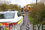 The William O'Brien crane which caused the road closures between Killeenleagh and Lissatinnig bridge on Thursday last.  Having missed the turn off at Killeenleagh for the wind-farm at Knockaneden the driver got into difficulty at Knoppoge.