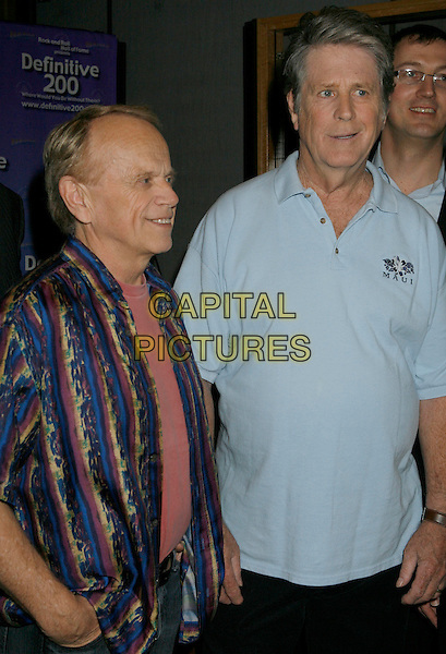"AL JARDINE & BRIAN WILSON.Brian Wilson Performs Songs From ""Pet Sounds"" to Support ""Definitive 200"" Campaign held at Capitol Records Building,  Hollywood, California, USA..March 7th, 2007.half length blue top striped stripes shirt .CAP/ADM/RE.©Russ Elliot/AdMedia/Capital Pictures"