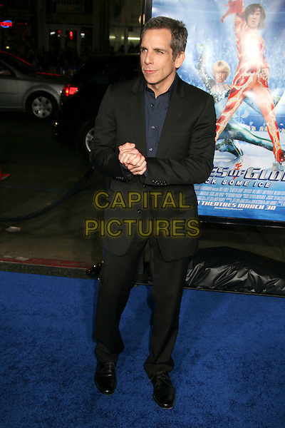 """BEN STILLER.Attending """"Blades of Glory"""" Los Angeles Premiere at Grauman's Chinese Theatre, Hollywood, California.28 March 2007..full length hands together black jacket.CAP/ADM/BP.©Byron Purvis/AdMedia/Capital Pictures."""