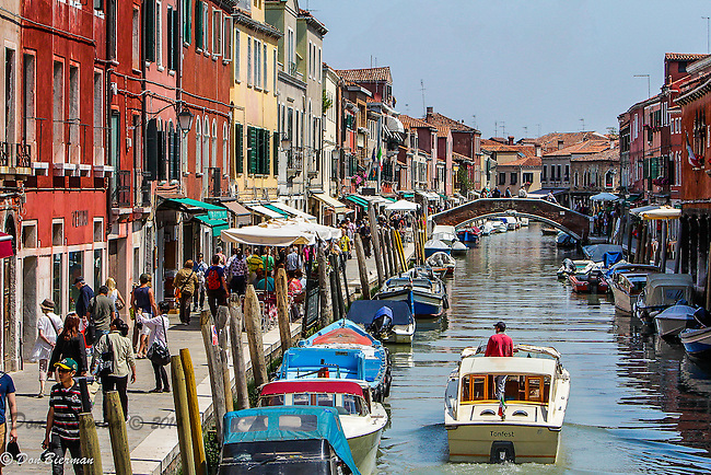 Venice, Italy; Murano, the glass-blowing island, the main canal and shops.