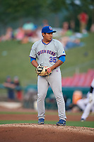 South Bend Cubs relief pitcher Manuel Rodriguez (35) gets ready to deliver a pitch during a game against the Kane County Cougars on July 23, 2018 at Northwestern Medicine Field in Geneva, Illinois.  Kane County defeated South Bend 8-5.  (Mike Janes/Four Seam Images)