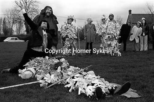 Crookham Mummers Boxing Day Crookham Berkshire UK 1974<br />