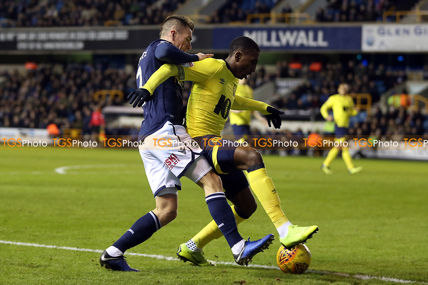 Jed Wallace of Millwall and Amari'i Bell of Blackburn Rovers during Millwall vs Blackburn Rovers, Sky Bet EFL Championship Football at The Den on 12th January 2019