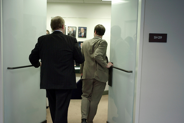 02/06/07--Attendees and participants arrive for a closed Senate Select Intelligence oversight hearing on Iran. Congressional Quarterly Photo by Scott J. Ferrell