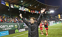 Portland, Oregon - Saturday May 21, 2016: The Portland Thorn's Meghan Klingenberg (25) versus the Washington Spirit during a regular season NWSL match at Providence Park. The Thorns won 4-1.