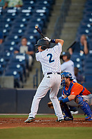 Tampa Tarpons Diego Castillo (2) at bat during a Florida State League game against the St. Lucie Mets on April 10, 2019 at George M. Steinbrenner Field in Tampa, Florida.  St. Lucie defeated Tampa 4-3.  (Mike Janes/Four Seam Images)