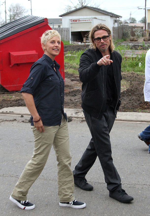 TV personality Ellen DeGeneres and Actor Brad Pitt is seen taping an interview  in the Lower 9th Ward in New Orleans, on Friday, Mar. 9, 2012. (AP Photo/ Donald Traill)
