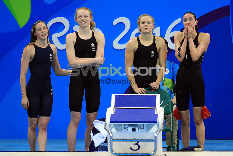 RIO DE JANEIRO, BRAZIL - AUGUST 10:  Hannah Miley, Georgia Coates, Siobhan-Marie O'Connor and Camilla Hattersley of Great Britain compete in the Women's 4x200m Freestyle Relay Heats on Day 5 of the Rio 2016 Olympic Games at the Olympic Aquatics Stadium on August 10, 2016 in Rio de Janerio, Brazil.  (Photo by Vaughn Ridley/SWpix.com)