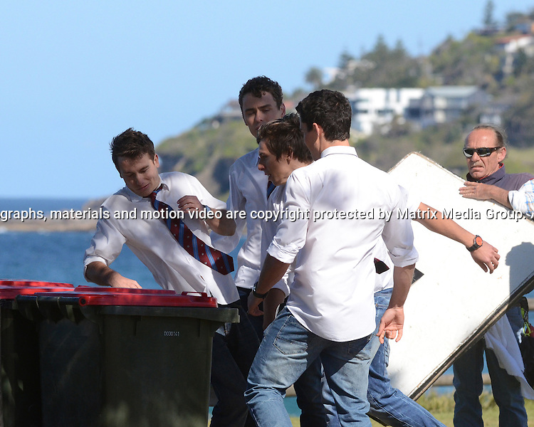 23rd September, 2014 SYDNEY AUSTRALIA<br /> non EXCLUSIVE <br /> Pictured, Bonnie Sveen, Nic Westaway, Andrew Morley, Jake Speer, Alec Snow, Charlie Clausen, Demi Harman , cast members of Home and Away doing scenes at the Palm Beach Surf Club, Palm Beach, NSW. <br /> <br /> *No internet without clearance*.MUST CALL PRIOR TO USE +61 2 9211-1088. Matrix Media Group.Note: All editorial images subject to the following: For editorial use only. Additional clearance required for commercial, wireless, internet or promotional use.Images may not be altered or modified. Matrix Media Group makes no representations or warranties regarding names, trademarks or logos appearing in the images.