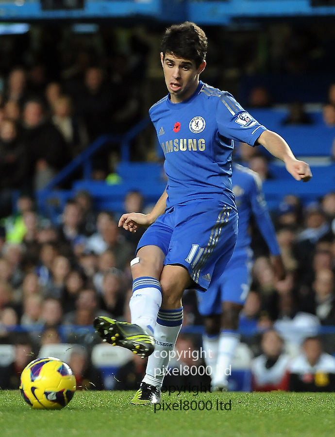 Oscar of Chelsea in action during the Barclays Premier League match between Chelsea and Liverpool at Stanford Bridge on Sunday November 11, 2012 in London, England Picture Zed Jameson/pixel 8000 ltd.