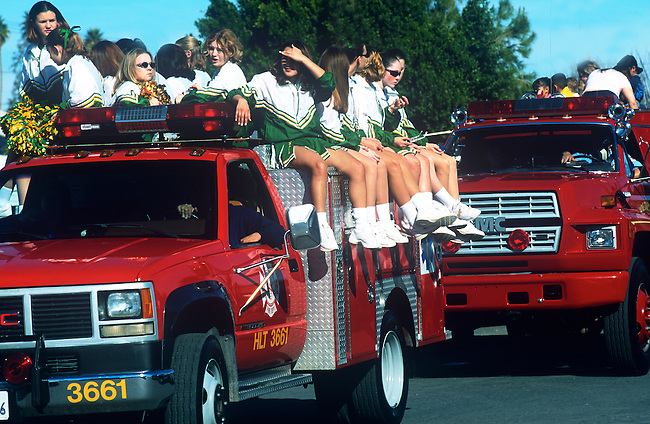 Fire Engine, Cheerleaders in Parade, Carrot & BBQ Cook-off, Holtville, California
