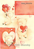 Andrea, VALENTINE, paintings, pigs, hearts(ITABLV1037,#V#) ,everyday