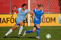Kelly Smith (10) of the Boston Breakers is chased by Yael Averbuch (10) of Sky Blue FC. Sky Blue FC defeated the Boston Breakers 2-1 during a Women's Professional Soccer match at Yurcak Field in Piscataway, NJ, on May 31, 2009.