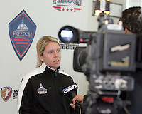 Emily Janss during Washington Freedom  practice and media event at the Maryland Soccerplex on March 25 in Boyd's, Maryland.