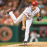 25 August 2016: Washington Nationals starting pitcher Max Scherzer pitches 8-innings of 2-hit shutout baseball against the Baltimore Orioles at Nationals Park in Washington, DC. The Nationals blanked the Orioles 4-0 to salvage one game of their 4-game home and away series. Mandatory Credit: Ed Wolfstein Photo *** RAW (NEF) Image File Available ***
