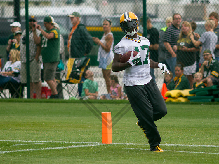 GREEN BAY - June 2015: Green Bay Packers wide receiver Davante Adams (17) during a minicamp practice on June 18th, 2015 at Clarke Hinkle Field in Green Bay, Wisconsin. (Brad Krause/Krause Sports Photography)