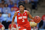 23 March 2015: Ohio State's Kelsey Mitchell. The University of North Carolina Tar Heels hosted the Ohio State University Buckeyes at Carmichael Arena in Chapel Hill, North Carolina in a 2014-15 NCAA Division I Women's Basketball Tournament second round game. UNC won the game 86-84.